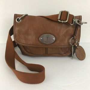 Fossil Brown Pebbled Leather Cross Body NEW